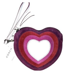 NWT Limited edition Coach Suede Heart Coin Purse